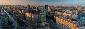Новосибирск. Вокзальная магистраль на восходе