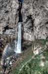 """Кавказ. Джилы-су, то есть """"горячая вода"""". Водопад Сулутан, 40 м. И радуга"""